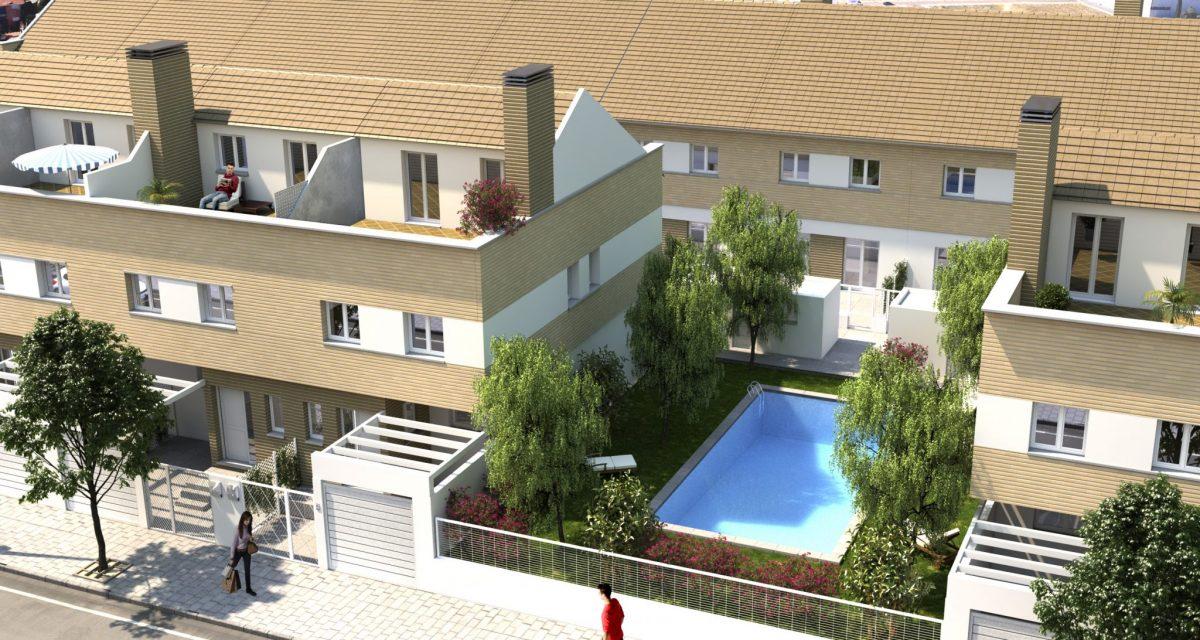 Chalets adosados en Badajoz - Vista aérea piscina